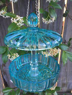 Bird Feeder, Vintage Glass, Garden Decor, Yard Art - All For Garden Hanging Bird Bath, Glass Bird Bath, Diy Bird Bath, Bird Bath Garden, Glass Garden Art, Glass Birds, Glass Art, Cut Glass, Clear Glass