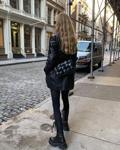 Le Fashion: How to Pull Off a Cool All-Black Outfit for Fall — @mvb Marie von Behrens in a leather jacket, leggings, lug-sole combat boots, and a Bottega Veneta Cassette bag