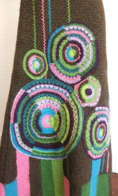 KENZO Mohair sweater skirt with crochet circle detail