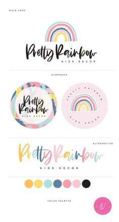 Hand-drawn Rainbow Logo- Pastel Logo For Decor Business , Complete Branding Design. All you need in one package! Inspiration Logo Design, Illustration Inspiration, Branding Kit, Business Branding, Etsy Business, Web Design, Type Design, Rainbow Logo, Logo Color