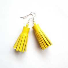 Small Leather Earrings Leather Tassel Yellow Tassel Earrings