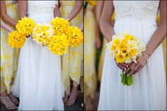 daffodil bouquets from www.thallofloraldesign.com, photos by http://www.photographybyvania.com/ Perfect for a spring wedding in Cornwall! // // Find beautiful Cornwall and Devon inspired wedding inspiration at www.pastiesandpetticoats.co.uk