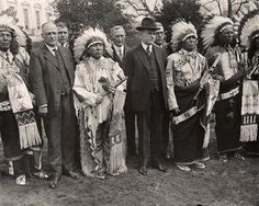 Calvin Coolidge With Indians, early 1920's (outside Whitehouse lawn?)