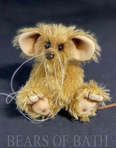 Fudge a 5.5 inch Mohair Artist Mouse Bear by Bears of Bath #BearsofBath Fudge, Sculpting, Adoption, Teddy Bear, Traditional, Bird, Pets, Artist, Fabric