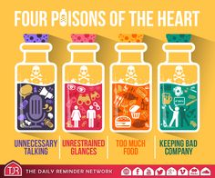 Four poisons of the heart: Unnecessary talking. Too much food. Keeping bad company. The Daily Reminder. Reminder Quotes, Daily Reminder, Words Quotes, Life Quotes, Sayings, Islamic Inspirational Quotes, Islamic Quotes, Islamic Teachings, Keep Strong
