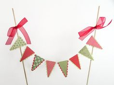 Summer Picnic Cake Bunting Red Green Gingham Spots by noolys, £5.00