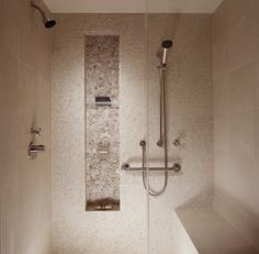 Shower niche with different tile/stone. Plus, the shower seat. Bathroom Niche, Shower Niche, Glass Bathroom, Small Bathroom, Bathroom Remodeling, Master Shower, Remodeling Ideas, Glass Shower, Master Bathroom