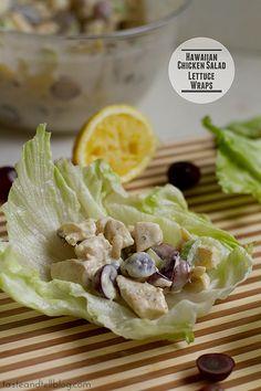 Hawaiian Chicken Salad Lettuce Wraps   www.tasteandtellblog.com