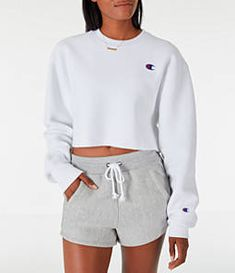 Women's Champion Reverse Weave Crop Crew Sweatshirt Woman Sweatshirts god is a woman sweatshirt Sweatshirt Outfit, Hoodie Sweatshirts, Nike Sweatshirts For Girls, Cute Comfy Outfits, Comfortable Outfits, Champion Clothing, Champion Shoes, Chenille, Stiletto Nails