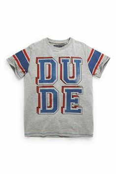 Buy Grey Dude Short Sleeve T-Shirt (3-16yrs) from the Next UK online shop