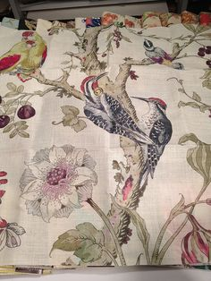 I adore this birdie fabric by Kravet, and must have at least a small piece for framing. Photo by Jamie Meares.