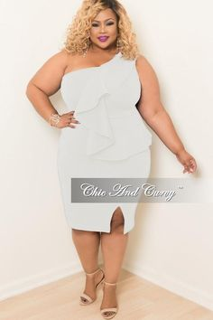 ccedfab2258d Final Sale Plus Size One Shoulder BodyCon Ruffle Dress with Front Slit in  Off White