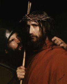 Carl Bloch, (1834-1890), Cristo deriso da un soldato (1880)