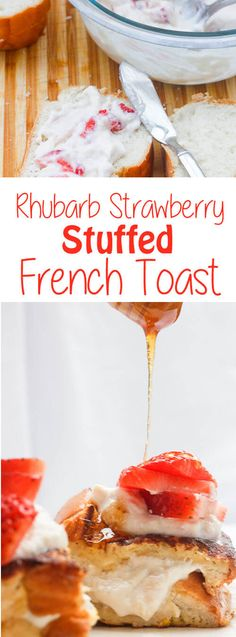 This deliciously flavorful Rhubarb Strawberry Stuffed French Toast is made with thick sliced bread stuffed with whipped ricotta, sweetened rhubarb, and diced strawberries. #Rhubarb #FrenchToast #Stuffed