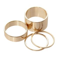 Set of four gold stackable rings. #jewelry #rings #bling