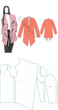 Motif manteau d& veste Fashion Sewing, Diy Fashion, Ideias Fashion, Diy Clothing, Sewing Clothes, Dress Sewing Patterns, Clothing Patterns, Sewing Hacks, Sewing Tutorials