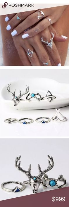 ✨New Arrival~ Boho 7 Pc Turquoise Deer Ring Set Boho Gypsy 7pc Turquoise Ring Deer Fawn Set In Vintage Silver  Condition: New Product Details:   Beautiful Casual rings great to wear as a set or individually  7 Pc Set Vintage Silver-tone Alloy metal Includes 5 rings, 2 midi rings  Turquoise stone detail   # Boho Bohemian Deer fawn Antler Women's rings  Make offers with the offer button No Trades Bundle 2+ items & Save 10% Jewelry Rings