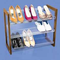 Three tier stackable shoe rack provides convenient storage and organization of your favorite footwear.