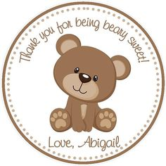 Teddy Bear Party Favor Tags on Etsy, $6.00