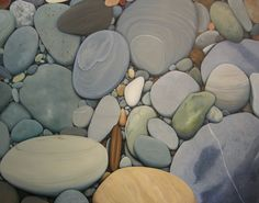 """""""Smooth Rocks"""" . Painting. In Low Tide by Jane Brookes."""