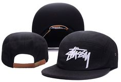 Men's Stussy Stock 3D Iconic Logo Embroidery 5 Panel Flannel Strapback Hat - Black / White