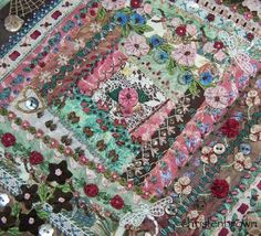 Crazy quilted square with traditional and silk ribbon embroidery, ribbonwork flowers, and bead embellishments. This is a class that I teach. Crazy Quilt Stitches, Crazy Quilt Blocks, Patch Quilt, Crazy Quilting, Silk Ribbon Embroidery, Embroidery Stitches, Hand Embroidery, Crazy Patchwork, Quilt Stitching