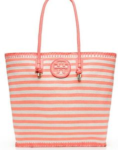 Striped coral tote bag