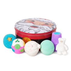 Father Christmas Reusable Tin Gift: Bursting with bath bombs, this festive tin has something for those times when you could use a few relaxing moments in the bath. Each of the six bath bombs will unleash a gorgeous fragrance as it fizzes its way through your bathwater.