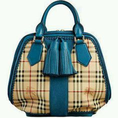 Omg teal and burberry pattern!Love this Burberry bag...