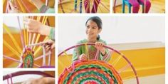 How To Weave Hula Hoop Rug from t-shirt bastelideen How to DIY Hula Hoop Woven Rug From Old T-shirts Hula Hoop Tapis, Hula Hoop Rug, Hula Hoop Weaving, Loom Weaving, Crafts To Make, Crafts For Kids, Diy Crafts, Fabric Crafts, Weaving Projects