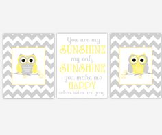 Baby Girls Nursery Wall Art Yellow Gray Grey You Are My Sunshine Quatrefoil Owls Canvas Prints Baby Nursery Decor