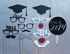 Graduation Photo Booth Prop Set  -  Photobooth Props Commencement, Class of 2014  -  www.littleretreats.com