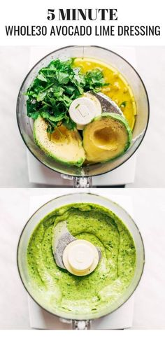 Creamy and refreshing avocado cilantro lime dressing. Great for dipping veggies . - Creamy and refreshing avocado cilantro lime dressing. Great for dipping veggies and topping off any - Healthy Food Recipes, High Protein Vegetarian Recipes, Vegetarian Recipes Dinner, Clean Eating Recipes, Clean Eating Snacks, Whole Food Recipes, Healthy Eating, Paleo Food, Paleo Dinner