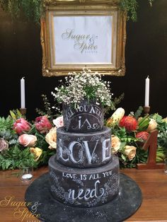 The #chalkboard #cake was such a hit! And yes, it is edible!!