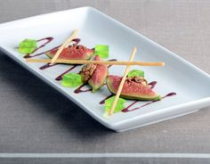 Recipe - Warm baked figs, red wine syrup, granny smith apple jelly and vanilla mikados