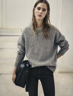AllSaints Women's February Lookbook Look 10: The Shine Jumper, Pearl Mini Hobo Bag and Grace Jeans