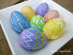Puff paint Easter eggs from Domestic Imperfection Cute Crafts, Crafts To Make, Crafts For Kids, Puff Paint, Plastic Easter Eggs, Hoppy Easter, Egg Decorating, Easter Crafts, Holiday Fun