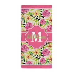 Pink Tropical Flowers Personalized Beach Towel