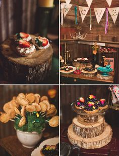 Love the logs as cake holders