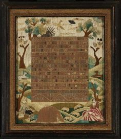 """American 1764  Dorothy Ashton  48 x 40 cm (18 7/8 x 15 3/4 in.)  Linen plain weave embroidered with silk and metallic thread. Linen plain weave sampler embroidered with silk and metallic thread; pastoral scene in border surrounding alphabets and verse embroidered in cross stitch and eyelet; signed """"Dorothy Ashton, Her sampler, Aged thirteen, 1764"""""""