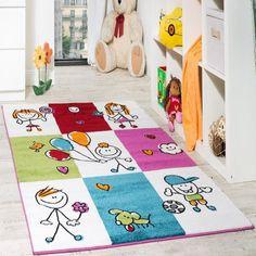 Elegant Teppich Kinderzimmer Fr hliche Kids in Karo Muster Mehrfarbig Creme T rkis Rot Kinderteppiche