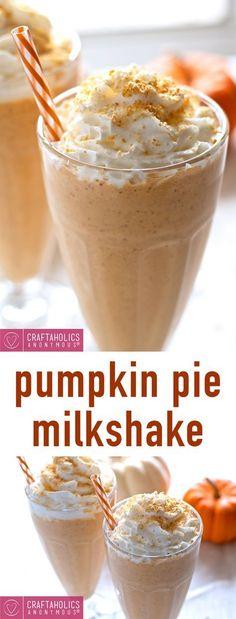 Pumpkin Pie Milkshake This delicious recipe is an amazing way to use up leftover Pumpkin puree! Whip up this Pumpkin Pie Milkshake for a great Thanksgiving treat! Thanksgiving Treats, Fall Treats, Yummy Drinks, Delicious Desserts, Yummy Food, Dessert Recipes, Tasty, Yummy Yummy, Milkshake Recipes