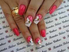 Modelos e Fotos de Unhas Espanholas Wow Nails, Cute Toe Nails, Cute Nail Art, Fancy Nails, French Nail Designs, Nail Art Designs, Fingernail Designs, Nail Decorations, Flower Nails