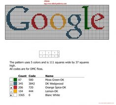 Google logo free cross stitch pattern (click to view)