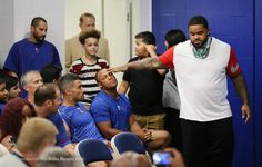 Parting shot: At his farewell press conference on Wednesday, Prince touches Beltre's head one last time. http://sportsday.dallasnews.com/texas-rangers/rangers/2016/08/10/photos-dry-eyes-found-prince-fielder-announces-retirement