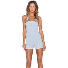 Joe's Jeans High Rise Short Overall Denim ($126) ❤ liked on Polyvore featuring jumpsuits, rompers, rompers & jumpsuits, denim short overalls, denim romper, romper jumpsuit, playsuit jumpsuit y denim rompers