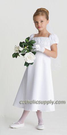 Kathryn First Communion Dress  Short sleeve satin and chiffon communion dress with hand beaded renaissance bodice.  $119.95