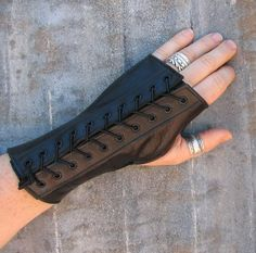 One Pair Steampunk Black Leather Fingerless Gloves by VampieOodles, $40.00