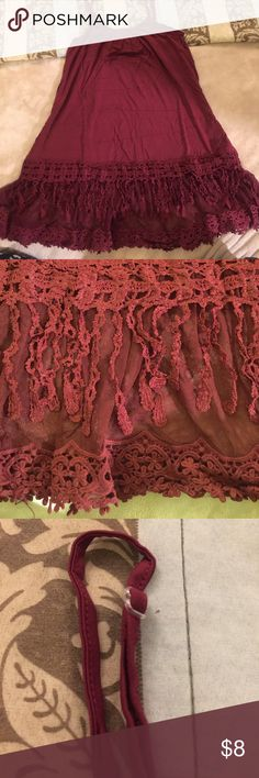 Maroon Cami with lace hem/ Shirt extender Super soft material pretty maroon/wine color. Adjustable straps. New in bag only removed for pictures. boutique Tops Camisoles