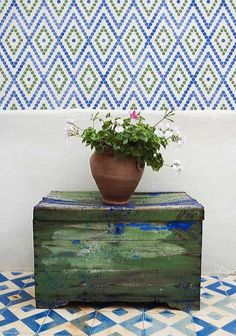 Moroccan Stencils | Hexagons Border Stencil | Royal Design Studio stenciled floor
